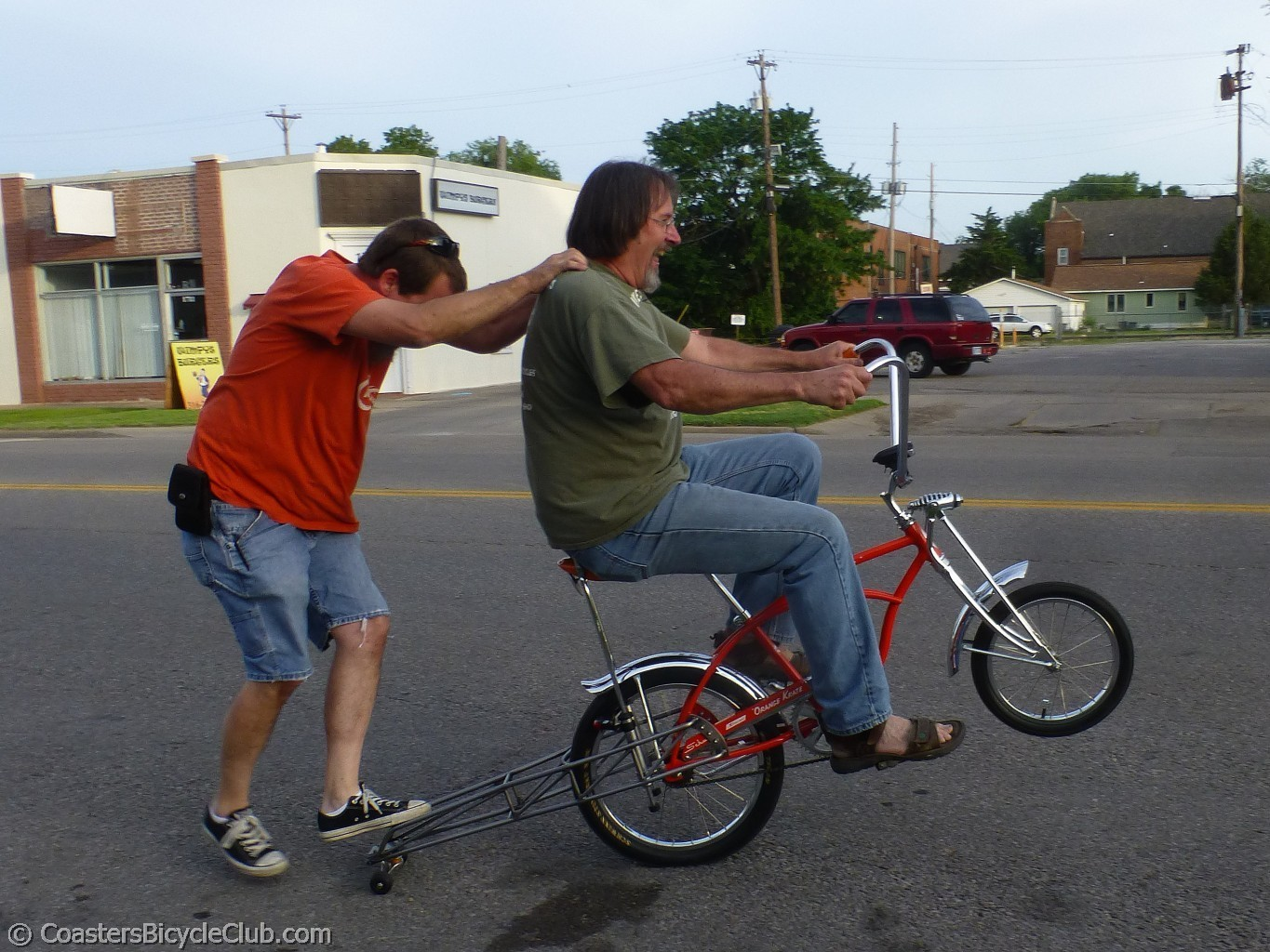 Steve and Dan playing with the wheelie bar.