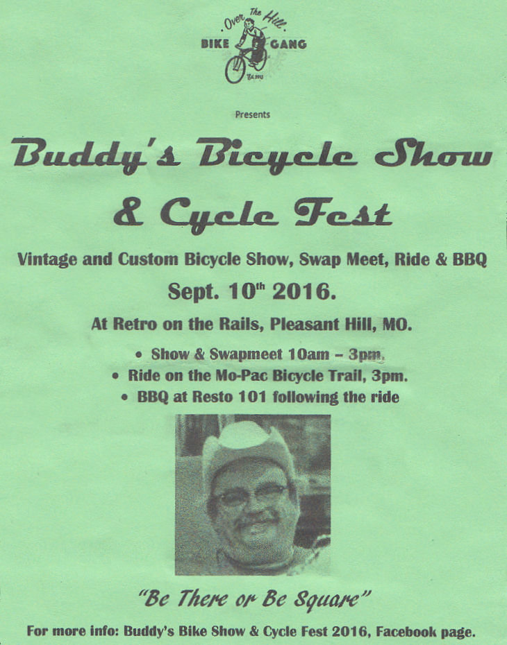Buddy's Bicycle Show And Cycle Fest @ Retro on The Rails | Pleasant Hill | Missouri | United States